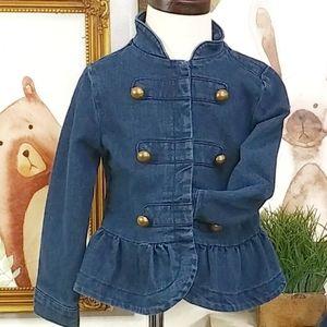 Stylish Jean Denim Jacket Ruffle Hem Size 3T